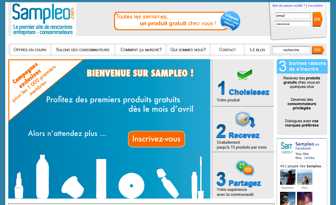 Sampleo le premier site de rencontres produits gratuits