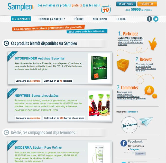 Nouveau site Sampleo, les campagnes www.sampleo.com