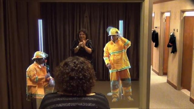 Pennington pompier cabine d'essayage réalité augmentée