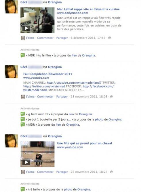 La page Fan Orangina les faux profils