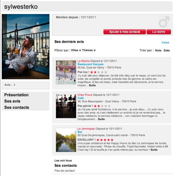 Profil avis consommateurs Chez Prune Paris