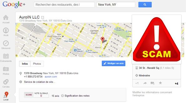 Faux avis google +