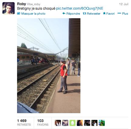 Tweet photo de l'accident de Brétigny la semaine dernière